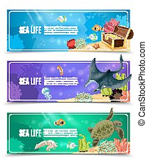 Sea Life Banner Set - Variants of underwater sea life and...