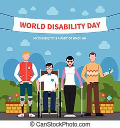 People With Disabilities Support Flat Poster - World...