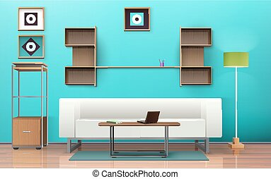 Living Room Isometric Design - Living room design with sofa...