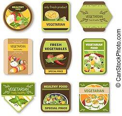 Vegetarian Food Colorful Emblems