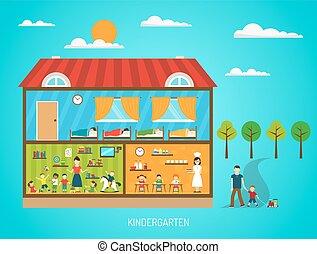 Kindergarten Flat Poster - Flat poster of kindergarten...