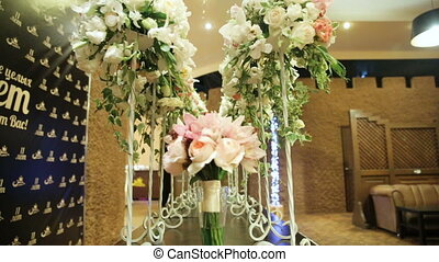 Wedding banquet hall interior. - Wedding decorations with...