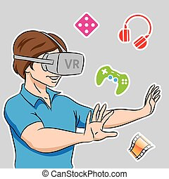 Guy Wearing a Virtual Reality Headset - Illustration of a...