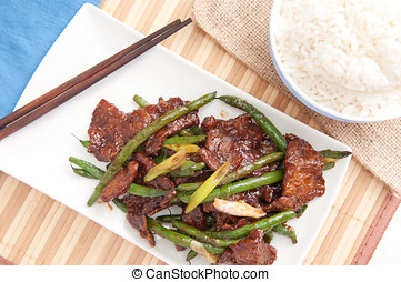 spicy beef with green beans and white rice - spicy beef and...
