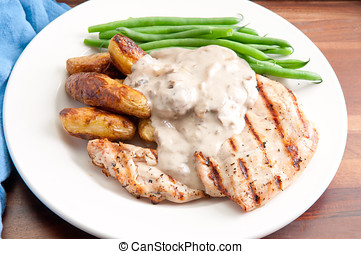 grilled chicken with mushroom sauce and fingerling potatoes...