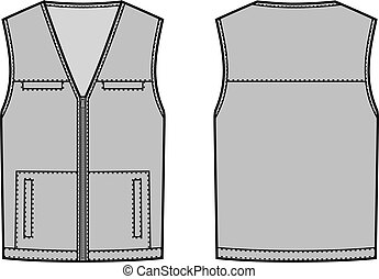 Vest - Vector illustration of waistcoat Front and back