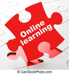 Education concept: Online Learning on puzzle background