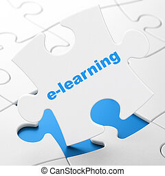 Education concept: E-learning on puzzle background -...