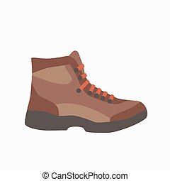 Camping boot icon in flat style. Tourism boot icon. Vector...