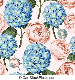 Hydrangea and peony seamless - Beautiful and colorful...