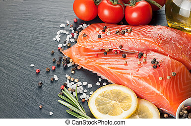 Raw salmon fillet - Raw salmon fillet, spices and vegetables...