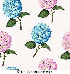 Hydrangea flower seamless - Beautiful and colorful hydrangea...