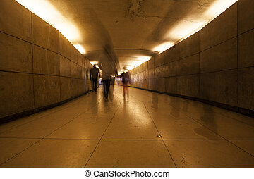 Peoples in underpass