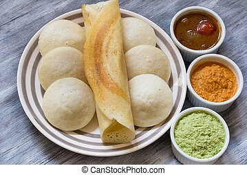 Idli and Dosa With Chutney and Sambar - Indian Food Idli and...