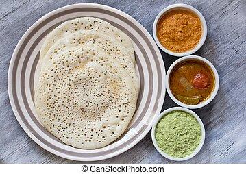 set dosa with sambar and chutney - South Indian food set...