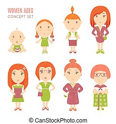 Set of cute pretty women age flat icons. Vector life aging...