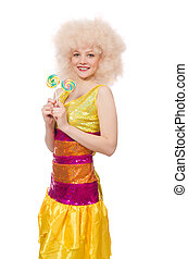Curly woman holding lolly pop isolated on white
