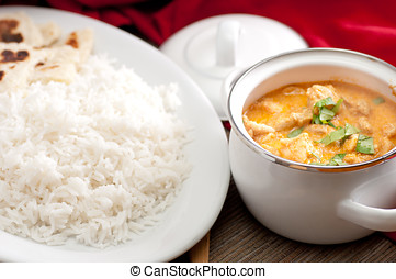 butter chicken and naan - home made butter chicken and fresh...