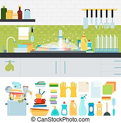 Dirty sink with kitchenware - Unwashed dishes vector flat...