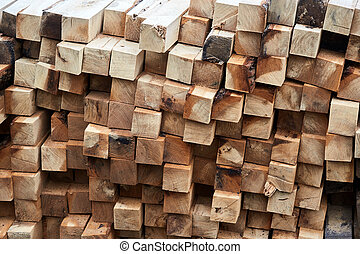 Construction timber logs - Stacked beech timber for use in...