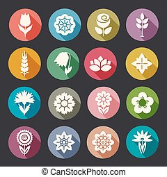 Flower icons set. Modern Thin Contour Line. Template for...