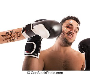 Boxer with taxes tattoo - Boxer receives punch from boxer...