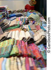 scarves - stack of multicolored cotton scarves