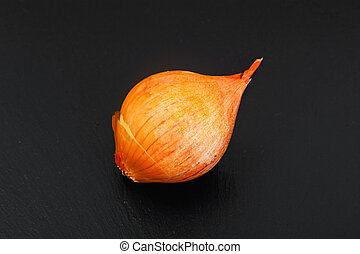 Fresh onion on black background Studio Photo