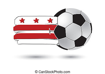 Soccer ball and Washington DC Flag with colored hand drawn...