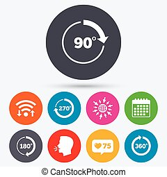 Angle degrees circle icons Geometry math signs - Wifi, like...