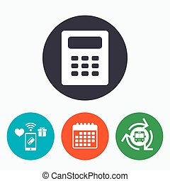 Calculator sign icon Bookkeeping symbol Mobile payments,...