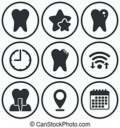 Dental care icons. Caries tooth and implant. - Clock, wifi...