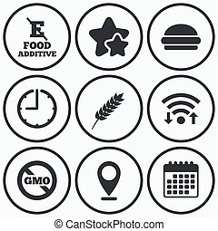 Food additive icon Hamburger fast food sign - Clock, wifi...