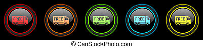free delivery colored web icons set on black background