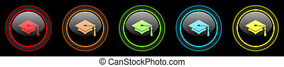 education colored web icons set on black background