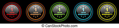warranty guarantee 1 year colored web icons set on black...