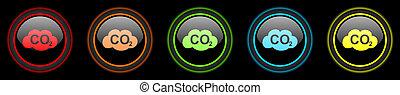 carbon dioxide colored web icons set on black background