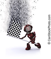 3D robot with chequered flag - 3D render of a robot with a...
