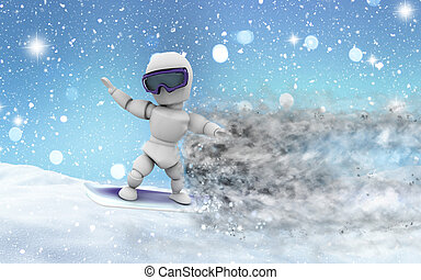 Snowy landscape with 3D snowboarder