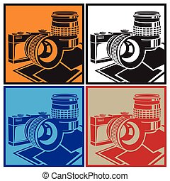 camera and lenses - Stylized vector illustration on the...