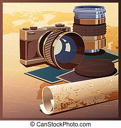 photos and travels - Stylized vector illustration on the...