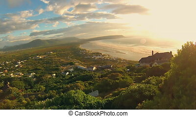 Noordhoek Beach at sunset - Panoramic view of Noordhoek...