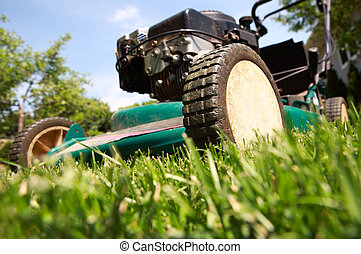 Lawnmower - a close up of a lawnmower cutting the grass