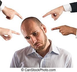 Accused businessman - Businessman with sad expression shown...