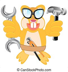 Animal beaver with tools - Cartoon merry animal beaver with...