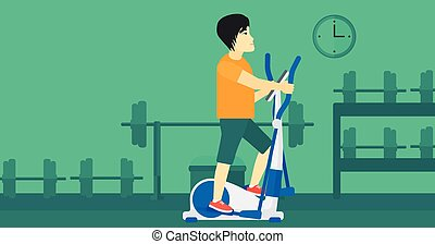 Man making exercises - An asian man exercising on a...