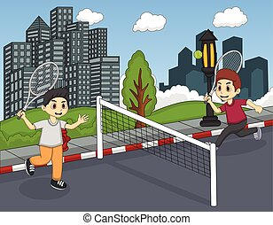 Children playing tennis in the city