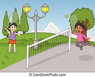 Children playing tennis in the park