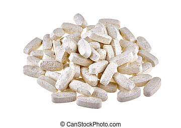 Heap of nutritional supplement pills isolated on white...