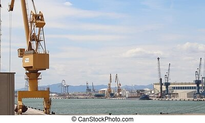 Harbor with crane facilities - Harbor with basin, crane...